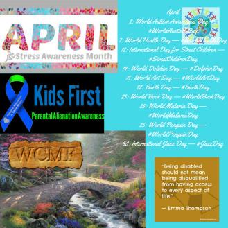 April2_ World Autism Awareness Day — _WorldAustismDay7_ World Health Day — _WorldHealthDay12_ International Day